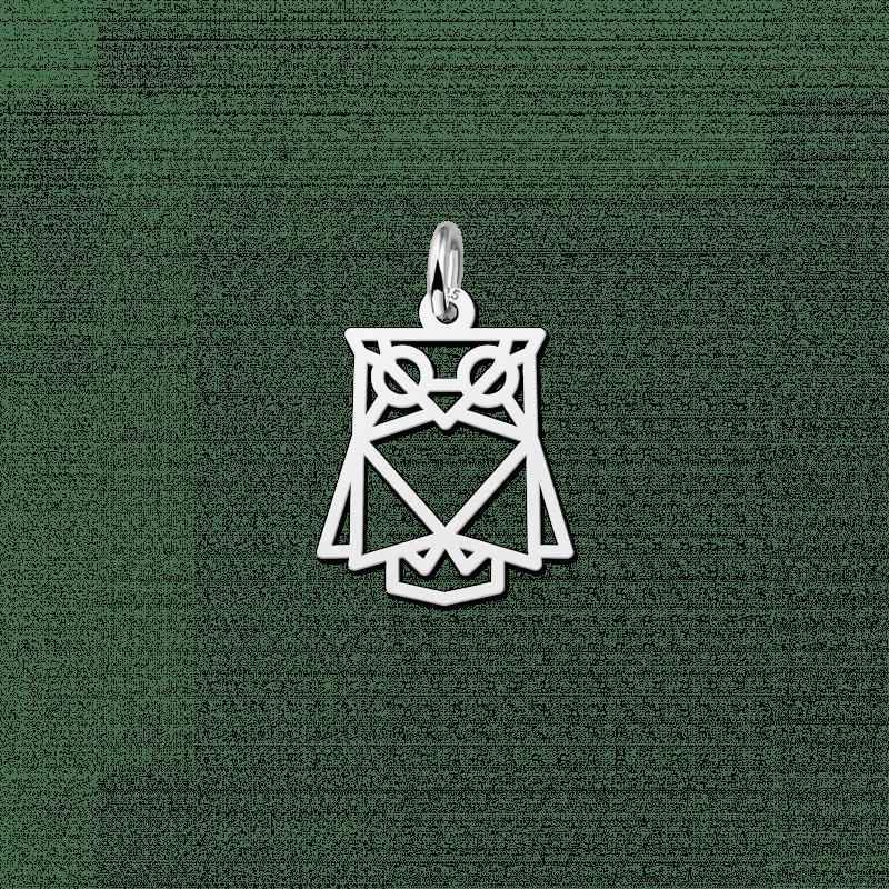 Zilveren geometrische hanger uiltje