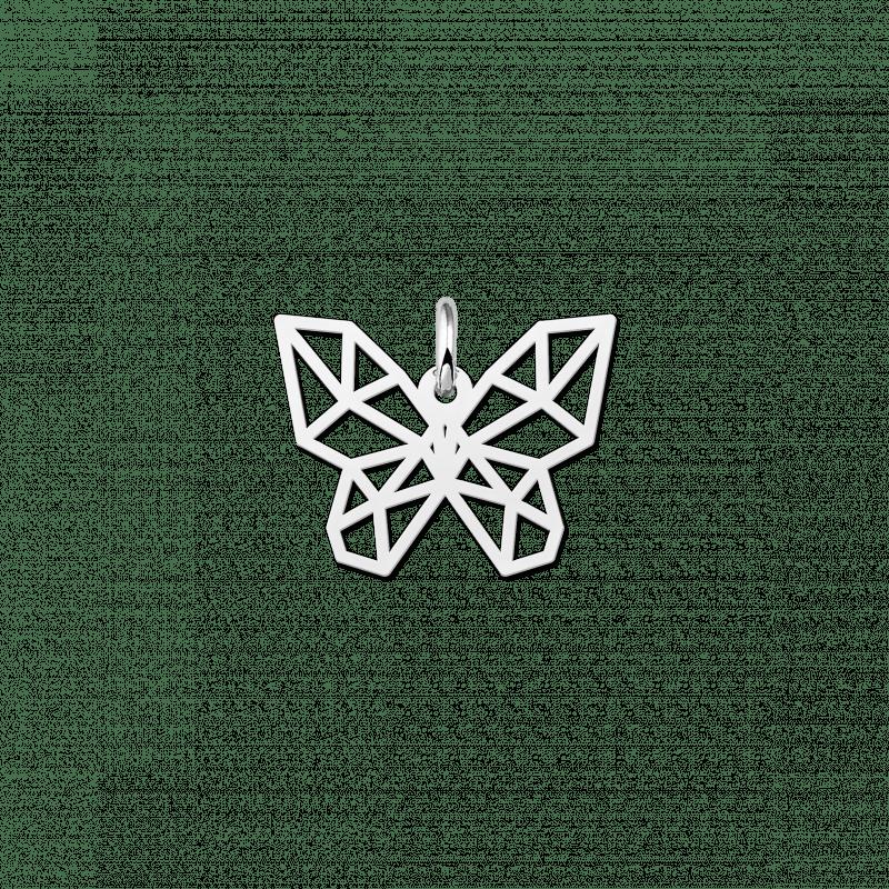 Zilveren geometrische hanger vlindertje