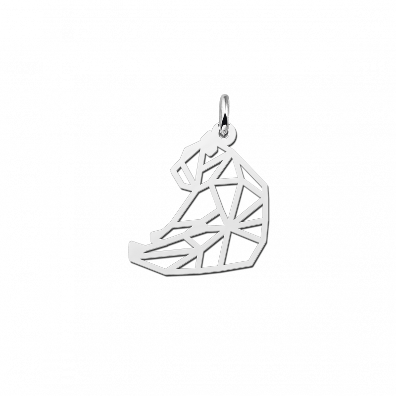 Zilveren geometrische hanger zittende beer