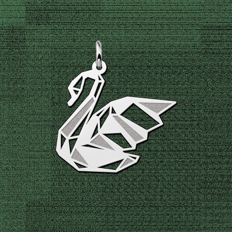 Zilveren geometrische hanger zwaan