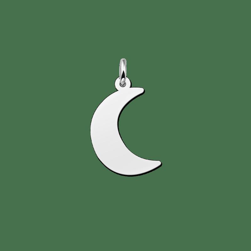 Zilveren halve maan hanger
