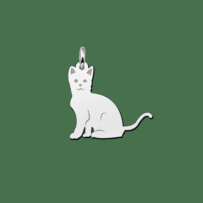 Zilveren kat hanger