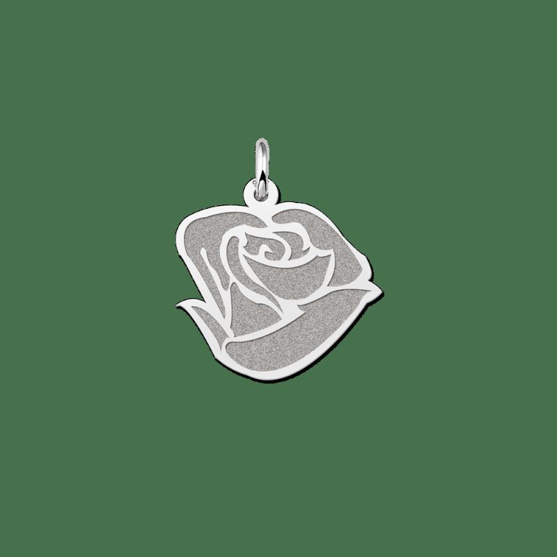 Zilveren roos hanger
