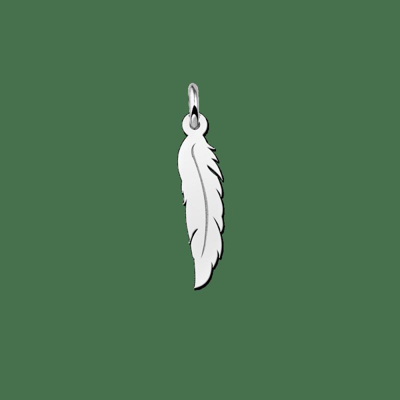 Zilveren veer hanger