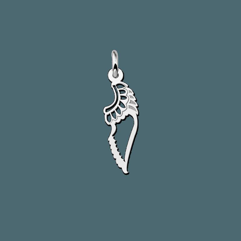 Zilveren vleugel hanger uitgesneden