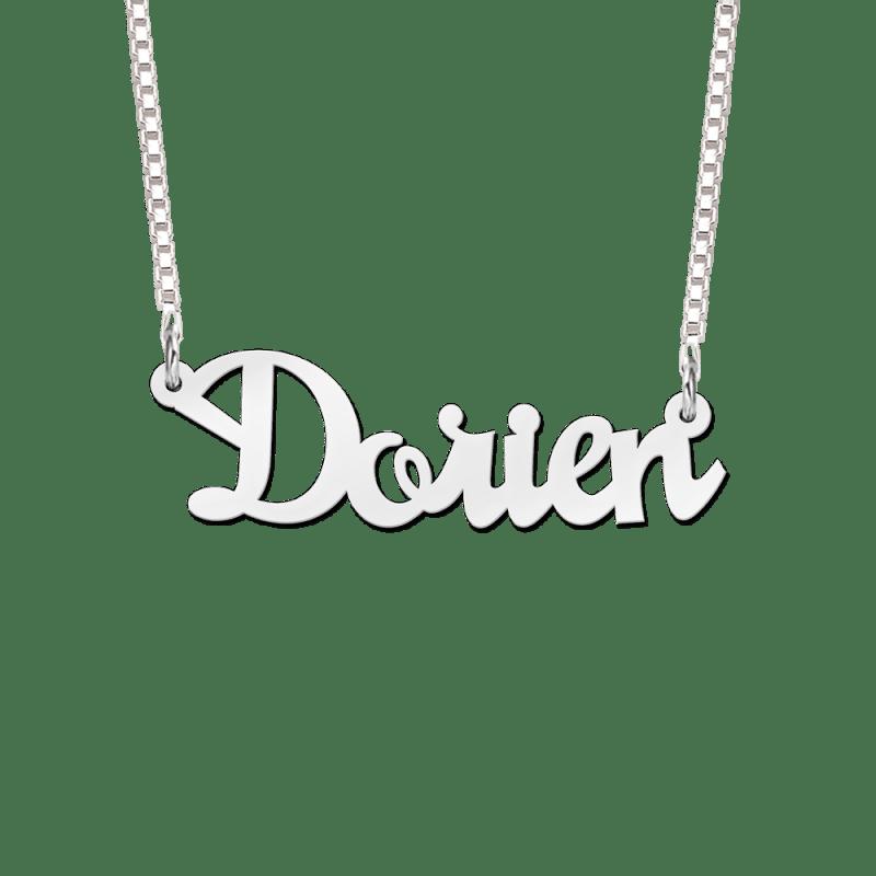 Ketting met naam 925 zilver voorbeeld Dorien