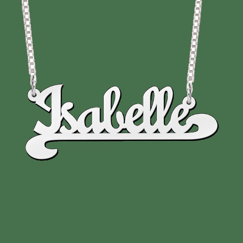 Naam ketting van zilver voorbeeld Isabelle