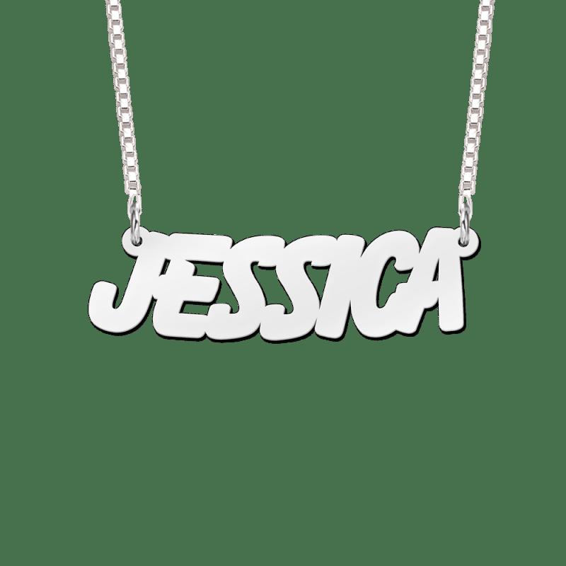 Naam ketting van zilver voorbeeld Jessica
