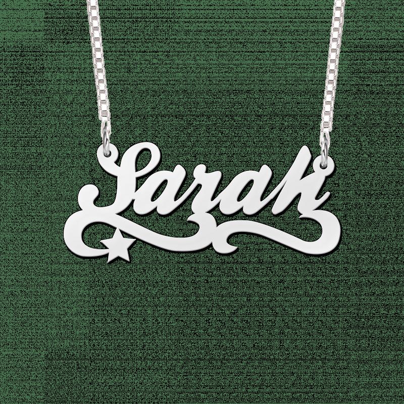 Naam ketting van zilver voorbeeld Sarah