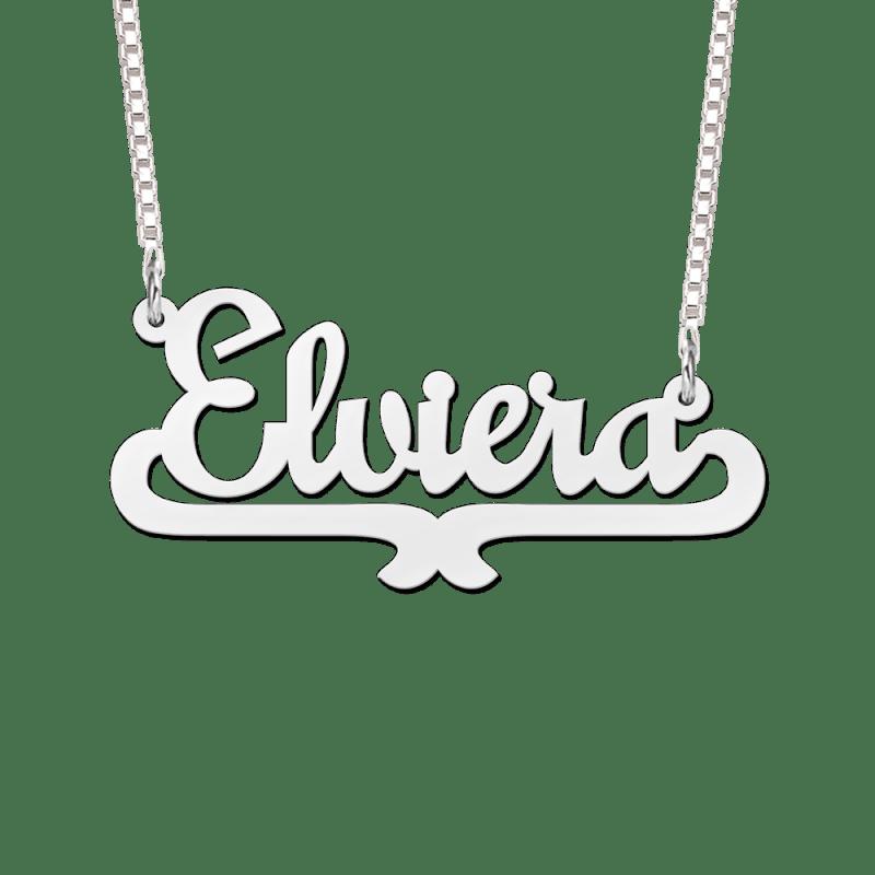Naam ketting zilver voorbeeld Elviera