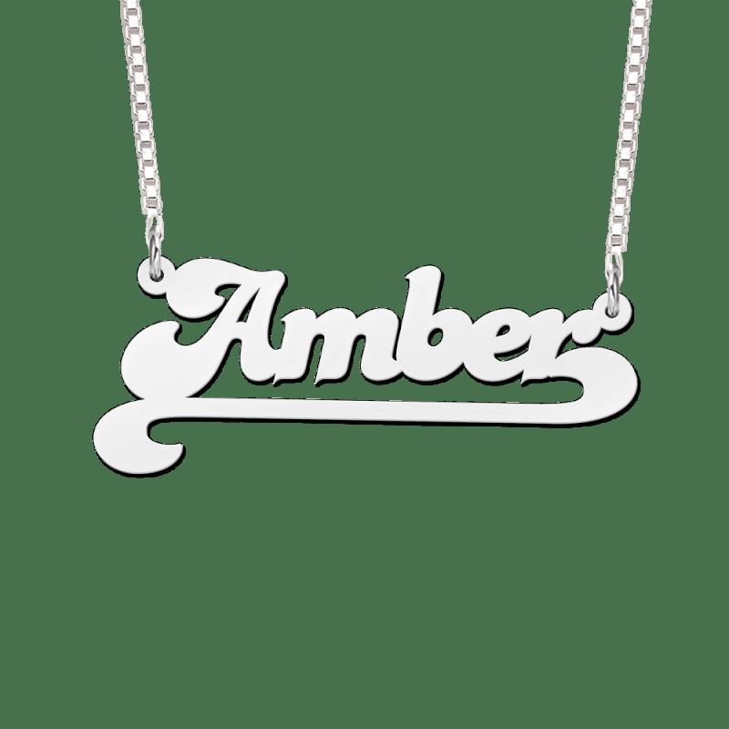 Naamketting zilver voorbeeld Amber