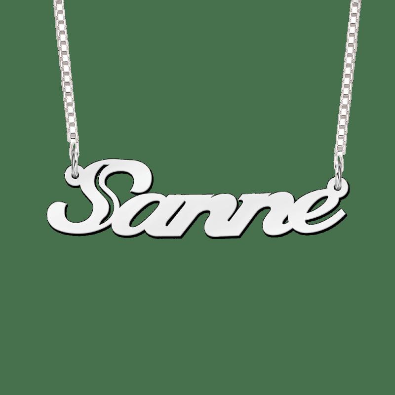 Stoere zilveren naamketting voorbeeld Sanne