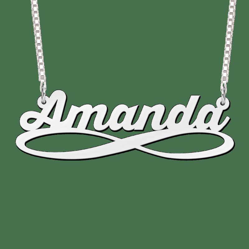 Zilveren ketting met naam en infinity voorbeeld Amanda