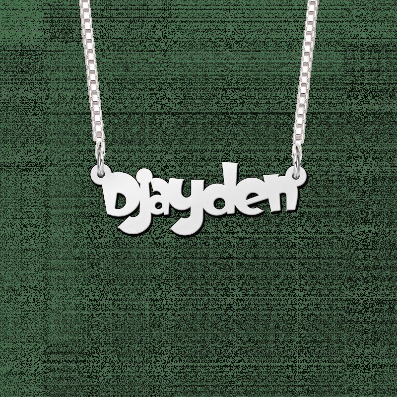 Zilveren kinder naamketting voorbeeld Djayden