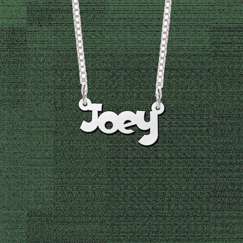 Zilveren kinder naamketting voorbeeld Joey