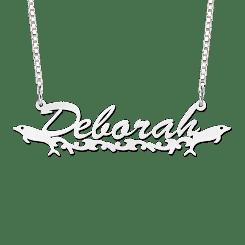 Zilveren naam ketting met dolfijnen voorbeeld Deborah