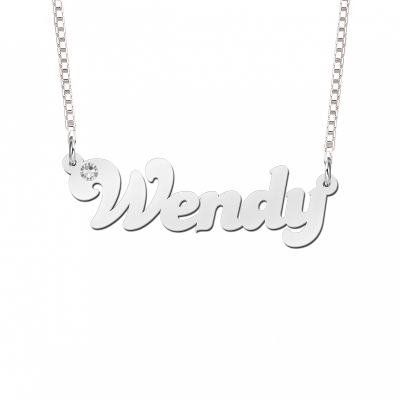 Zilveren naam ketting met zirkonia voorbeeld Wendy