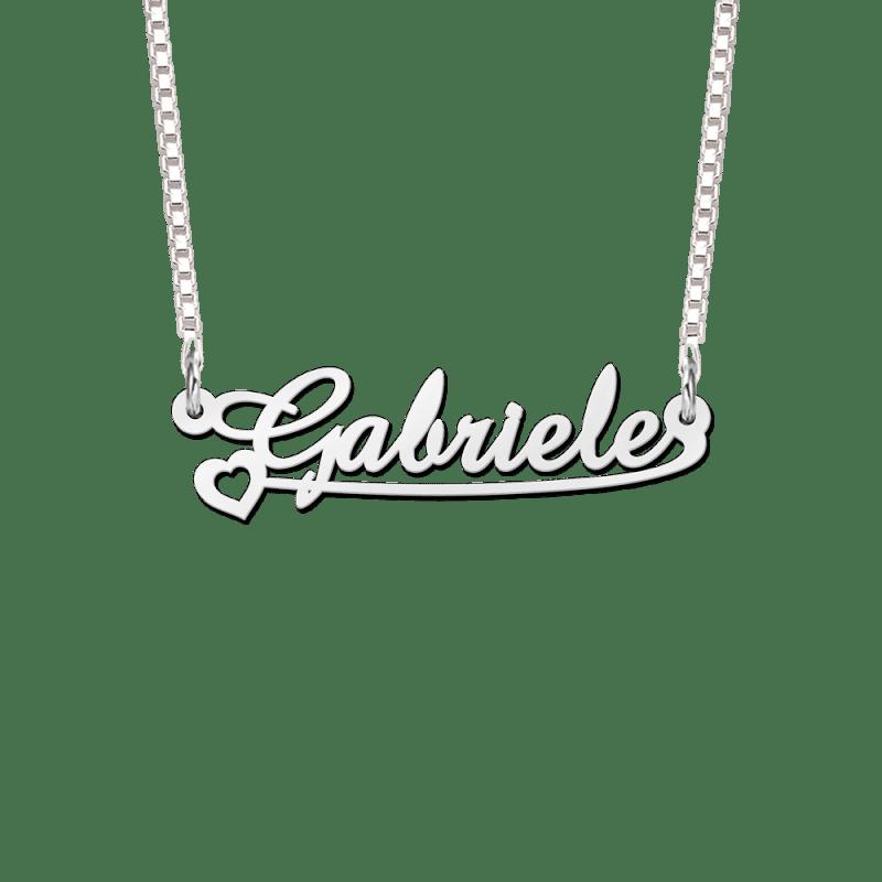 Zilveren naam ketting voorbeeld Gabriele