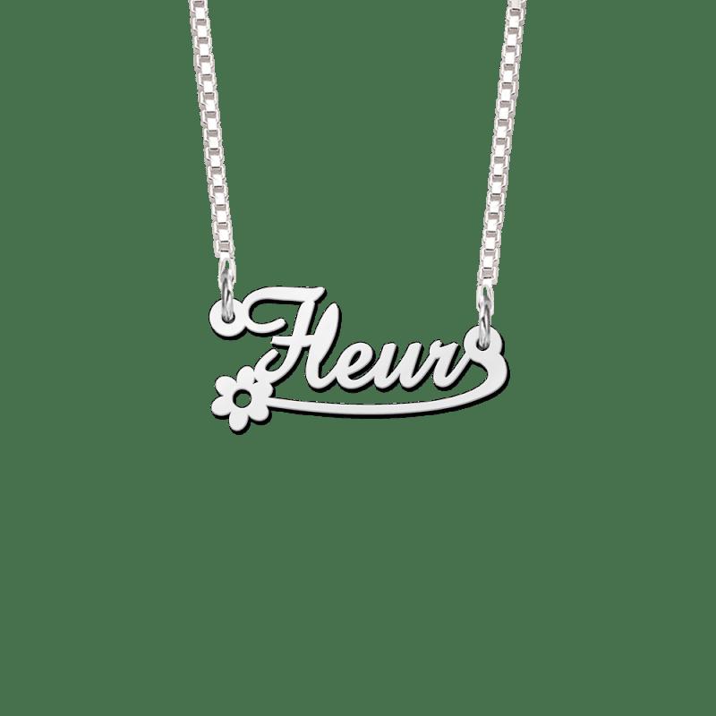 Zilveren naamketting bloem voorbeeld Fleur