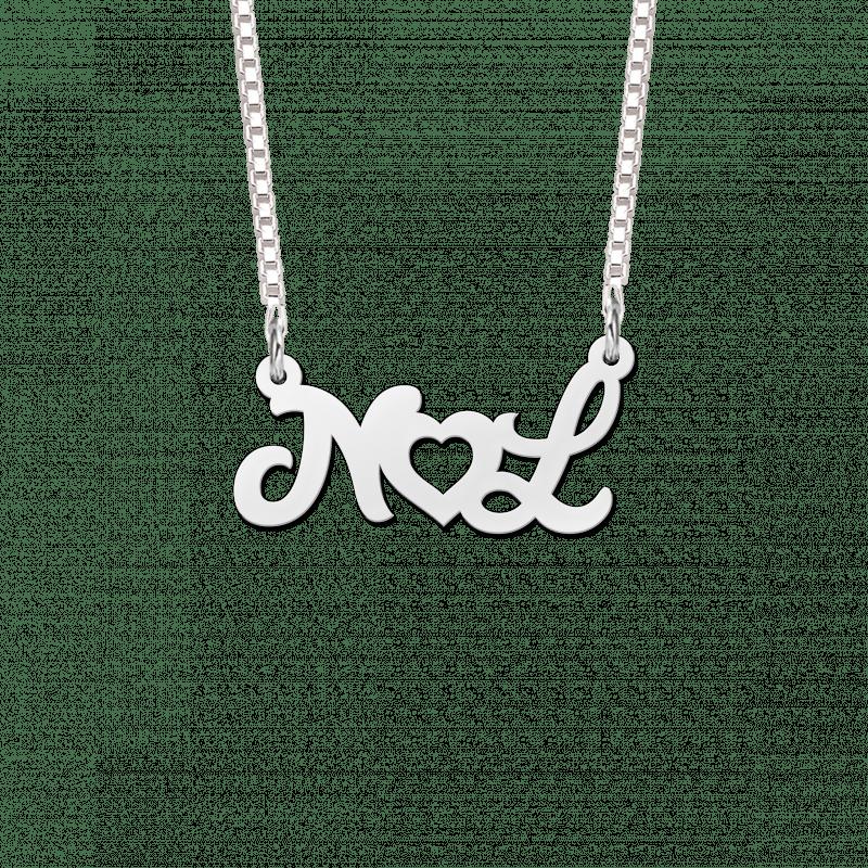 Zilveren naamketting met initialen en hartje