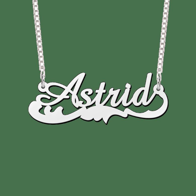 Zilveren naamketting met krul voorbeeld Astrid