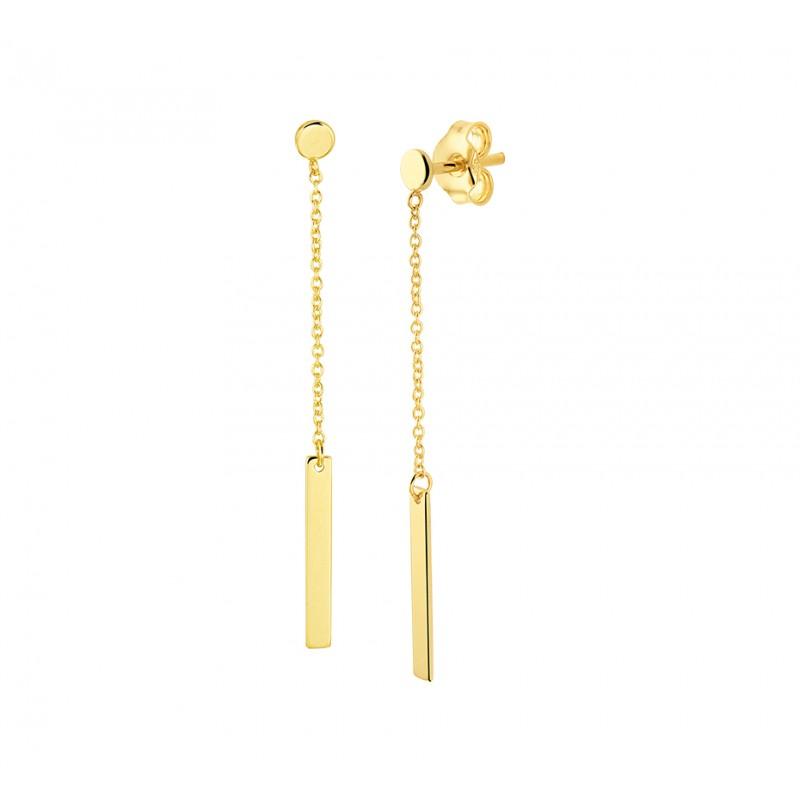 Gouden oorhanger met ketting en balkje