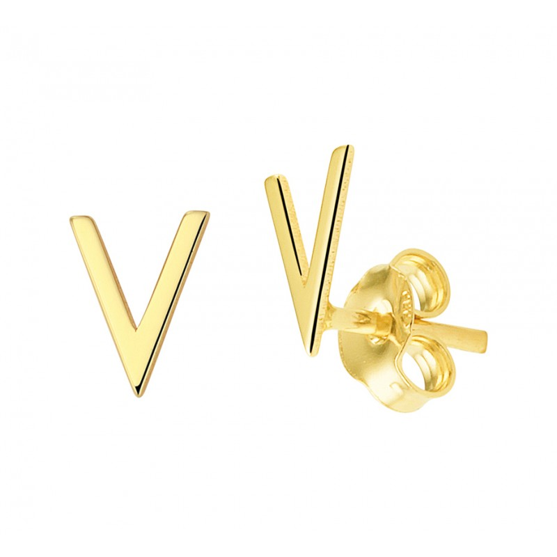 V-vormige oorknopjes in goud